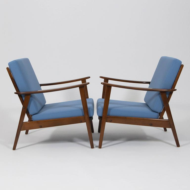 pair of mid century modern easy chairs germany 1960 at 1stdibs. Black Bedroom Furniture Sets. Home Design Ideas