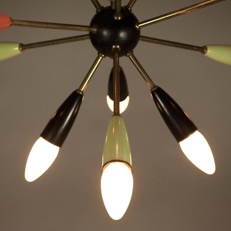 Mid Century Modern Brass Sputnik Chandelier Germany