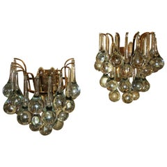 Pair of Christoph Palme Glass Droplet and Gilt Brass Sconces, 1970