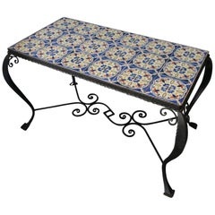 Midcentury Wrought Iron and Tiled Coffee or Cocktail Table