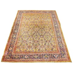 Antique Sultanabad Carpet Lustrous Wool Natural Colors, circa 1900