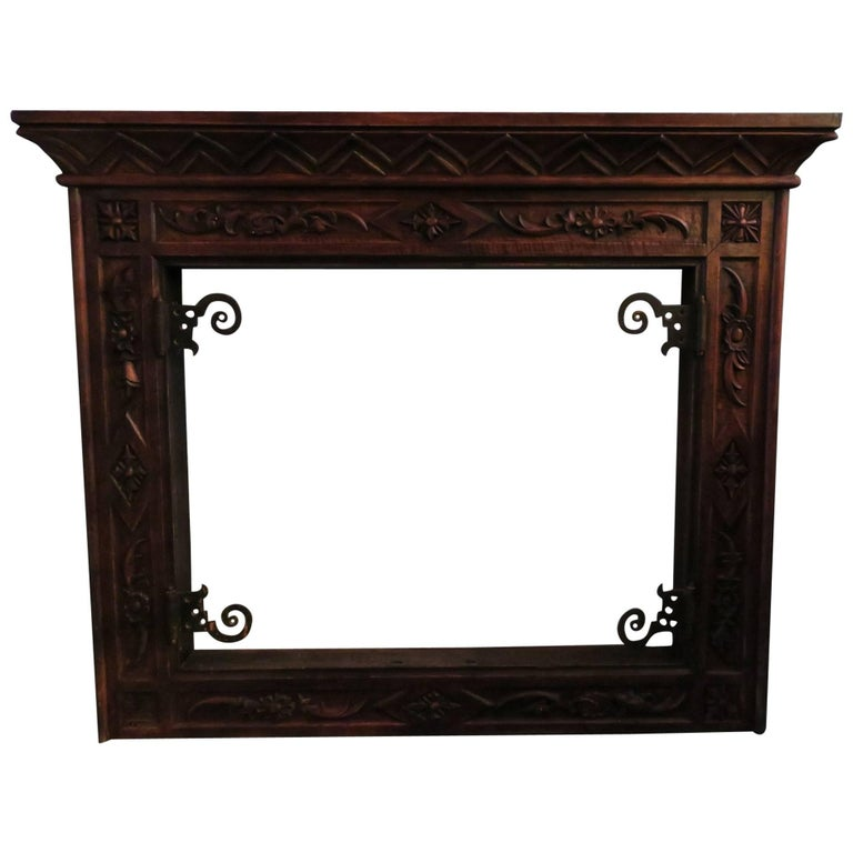 Art Deco Fireplace Carved Wood and Wrought Iron