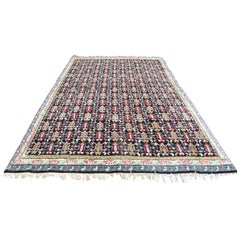 North African Carpet with Multicolored Lattice Pattern on Black Background