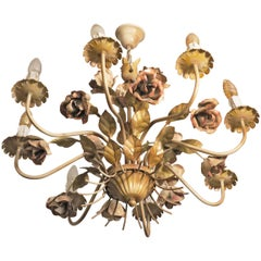 Painted Tole Chandelier with Roses Eight Lights, Midcentury