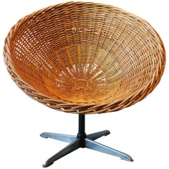 Rattan and Iron Swivel Pod Chair, Midcentury
