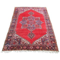 Large Heriz Carpet Unusual Shaded Rich Red Plain Background