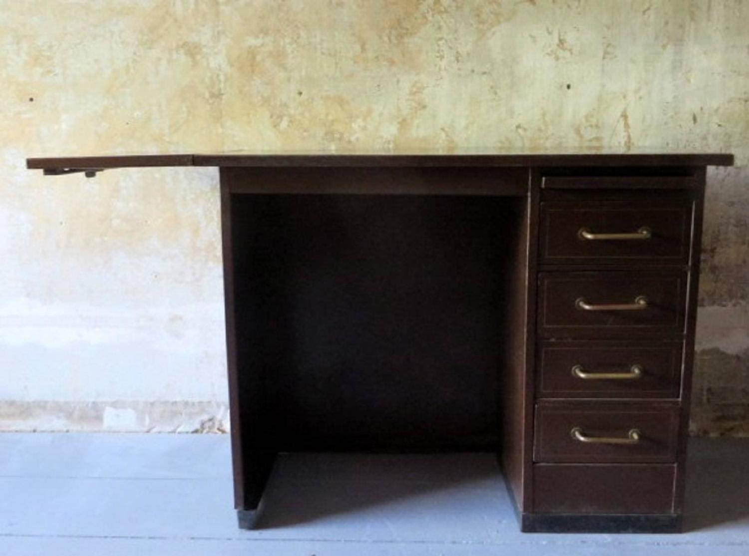 Patinated French Industrial Metal Desk of Small Size by