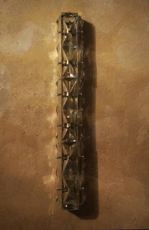 Cut Glass Wall Lights : Facet Cut Glass and Brass Wall Light or Sconce For Sale at 1stdibs