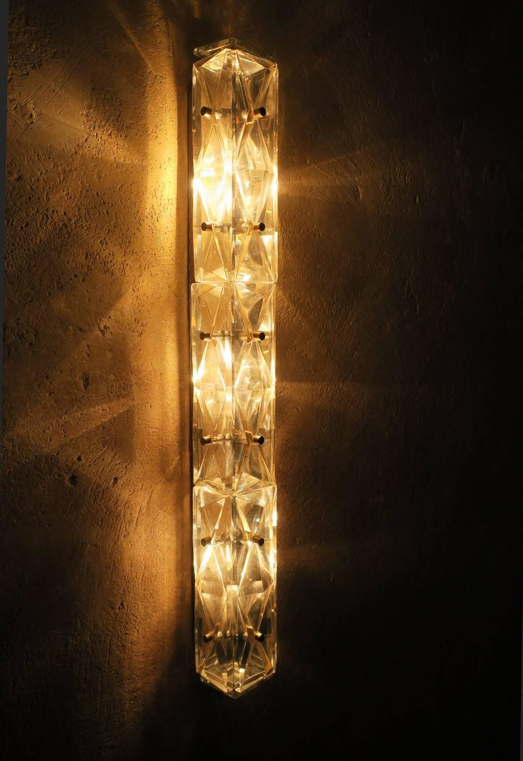 Cut Glass Wall Lights : Faceted Cut Glass and Brass Wall Light or Sconce For Sale at 1stdibs