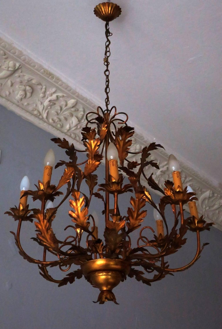 Large vintage french gilt tole chandelier for sale at 1stdibs large vintage french gilt tole chandelier in good condition for sale in berlin de arubaitofo Image collections