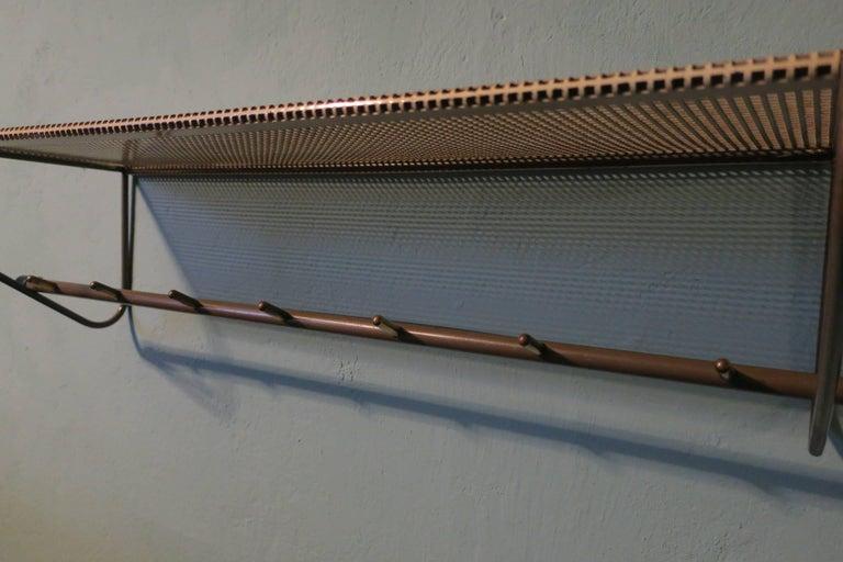 Perforated metal coat rack Mid-Century.