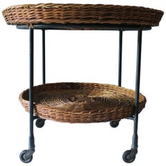 Vintage Bamboo and Iron Serving Cart with Glass Inlay