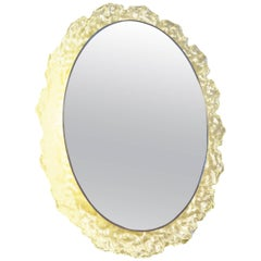 Large Melted Ice Lucite Illuminated Oval Mirror