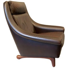 'Matador' Leather Lounge Chair with Unusual Base by Aage Christiansen