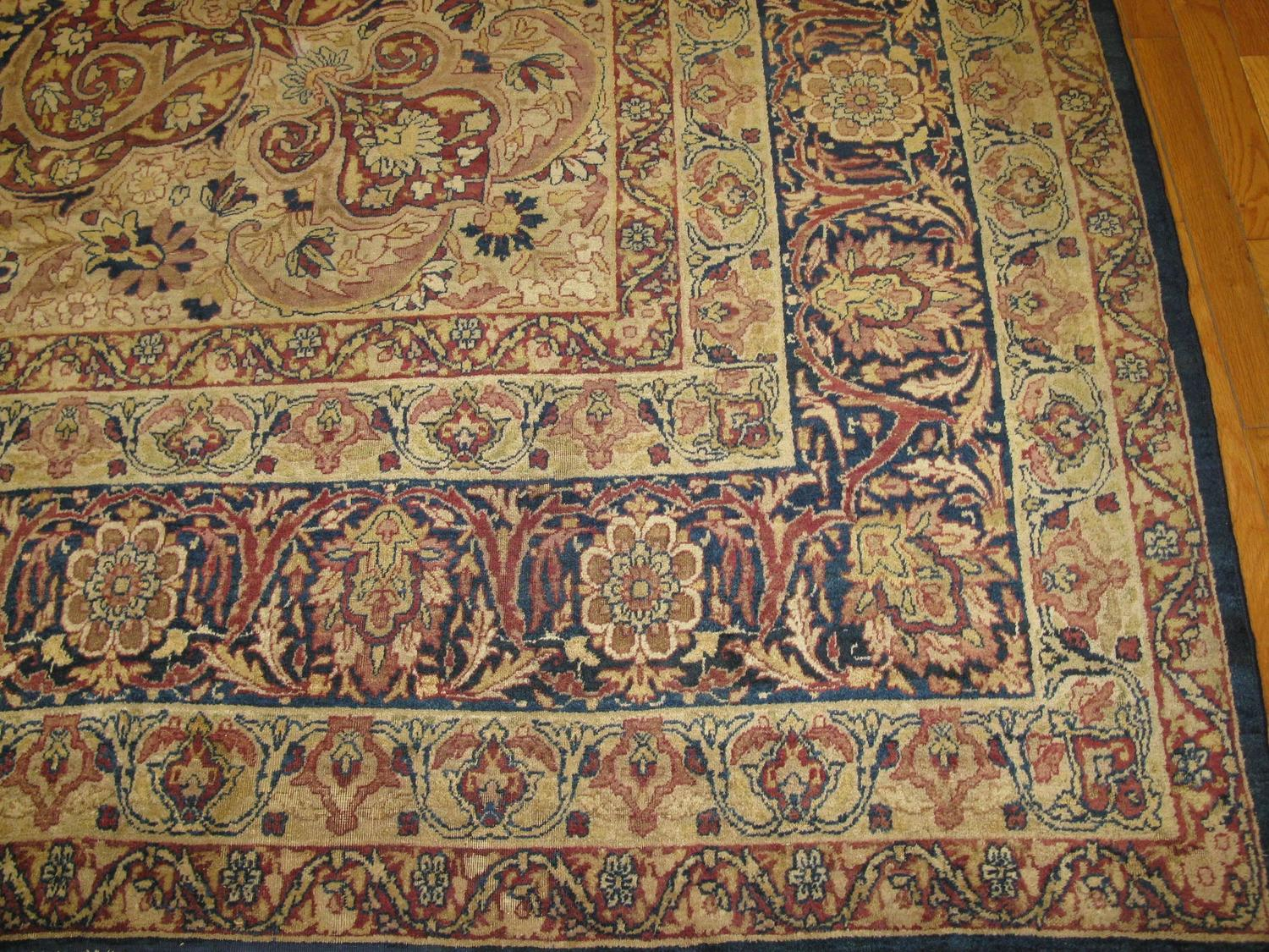 Large Antique Hand Knotted Persian Lavar Kerman Rug For