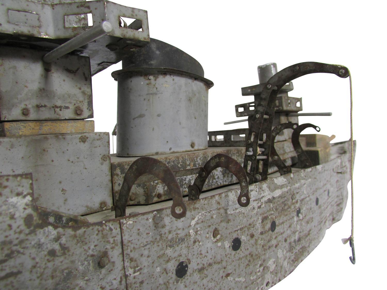 Folk Art Scrap Metal Battleship At 1stdibs
