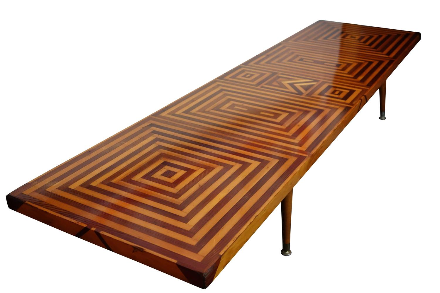 Mid Century Inlaid Walnut And Maple Coffee Table For Sale At 1stdibs