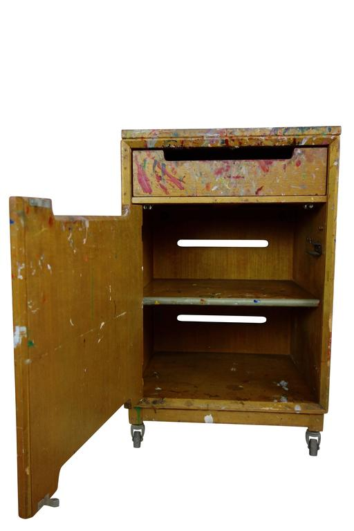 Paint Splattered Cabinet From An Artist Studio For Sale At 1stdibs