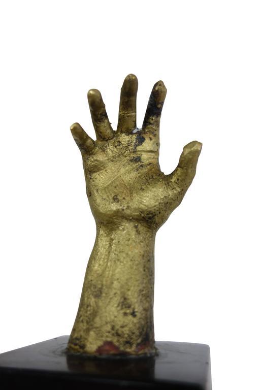 Vintage Brass Hand Sculpture On Black Marble Base At 1stdibs