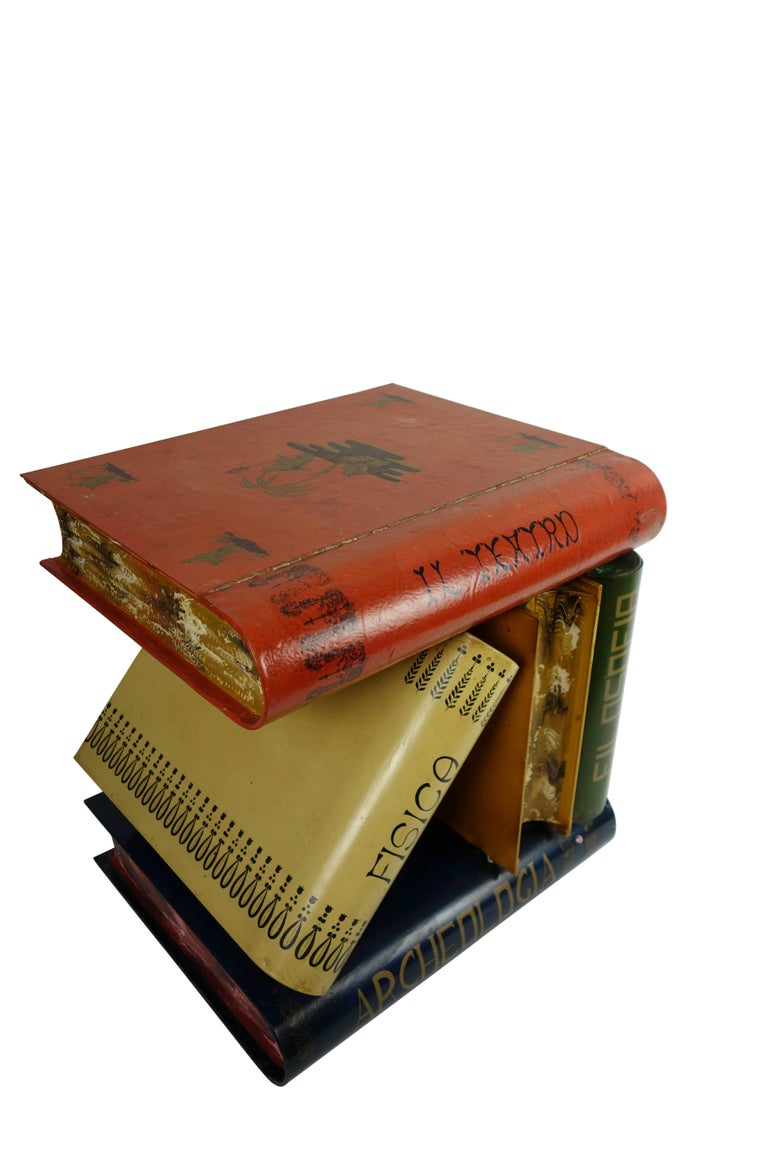 Italian Stacked Book Form Side Table, circa 1950  For Sale 4