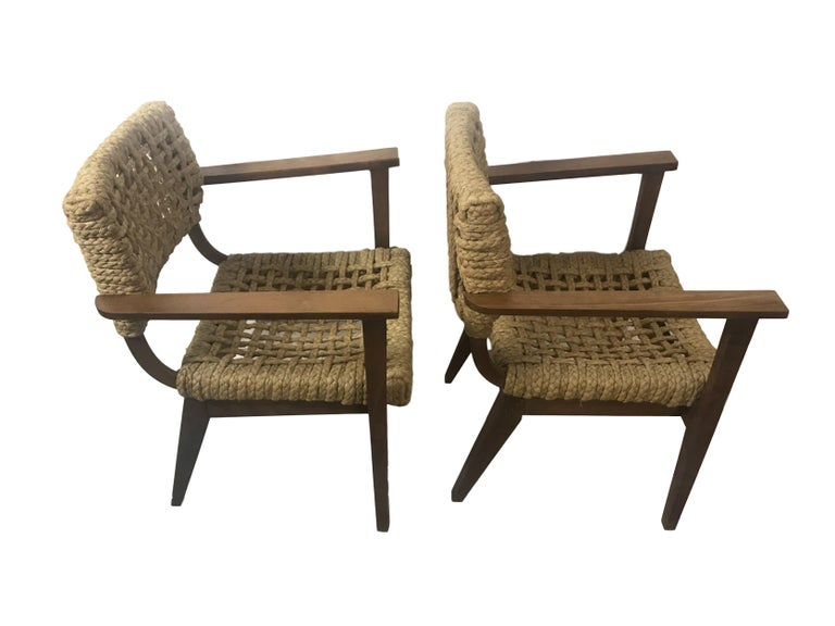 Mid-Century Modern Pair of Braided Rope Chairs by Adrien Audoux and Frida Minet, circa 1950 For Sale