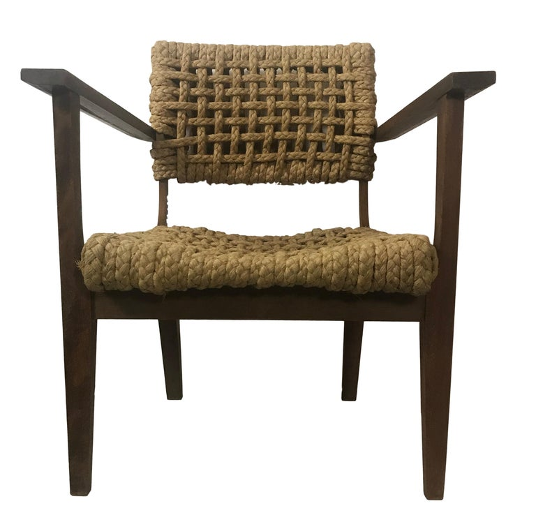 Stained Pair of Braided Rope Chairs by Adrien Audoux and Frida Minet, circa 1950 For Sale
