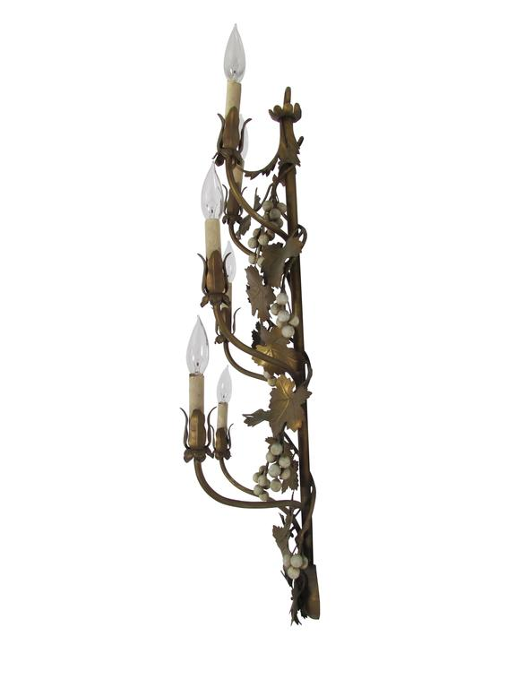 Wall Sconces With Grapes : Gilded Six Candelabra Grape Vine Sconce at 1stdibs