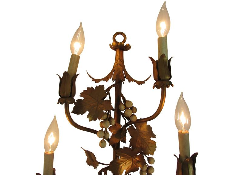 Gilded Six Candelabra Grape Vine Sconce at 1stdibs