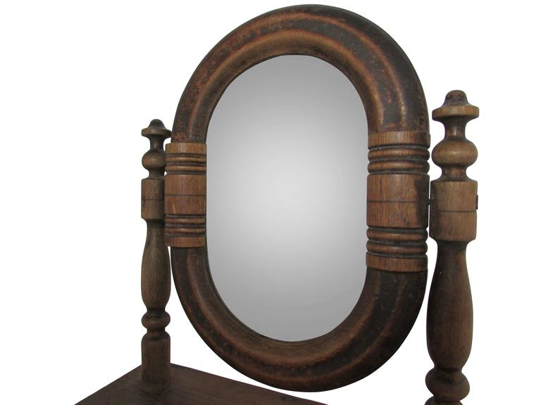 19th Century French Vanity Mirror with Drawer In Good Condition For Sale In Seattle, WA