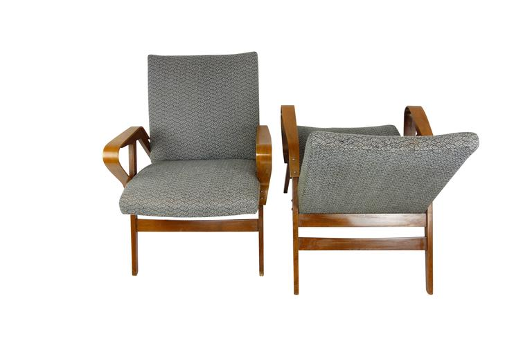 Pair of Bentwood Czech Tatra Nabytok Chairs, circa 1950 In Good Condition For Sale In Seattle, WA