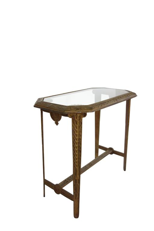 Art deco cast iron and glass side table for sale at 1stdibs for Wrought iron and glass side tables