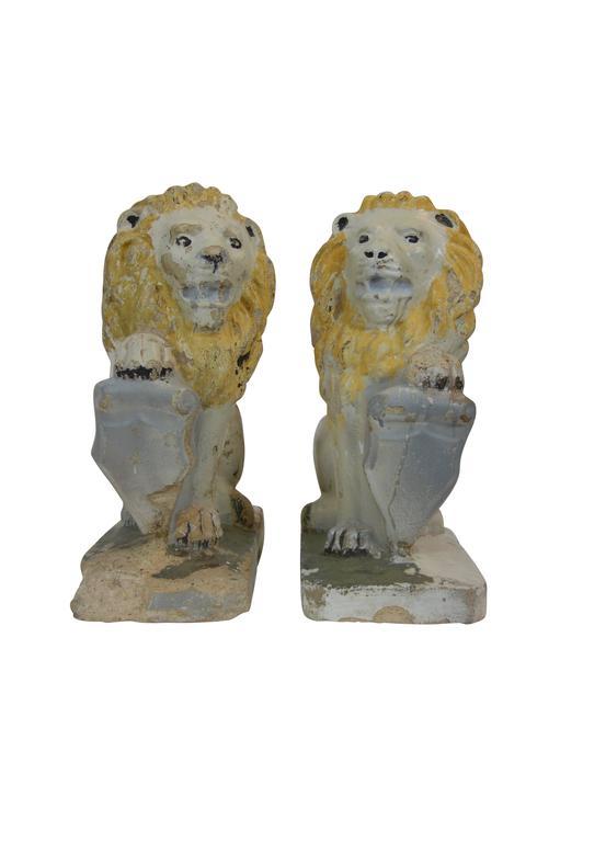 Pair Of Painted Concrete Garden Lion Statues 2