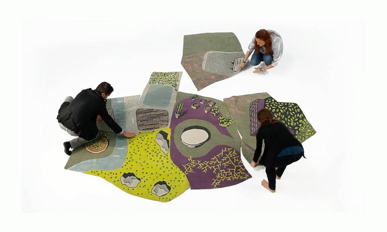 Contemporary Non-Flying Carpet, a Whimsical Rug Handmade in Nepal, finest wool, 6 pieces For Sale