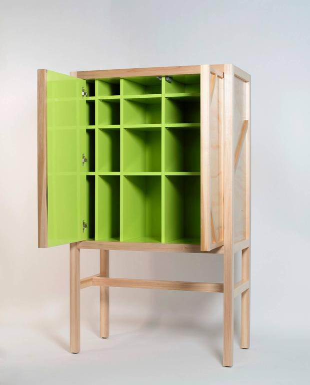 Modern Inside-Out Credenza Prototype Lungo, Fine Cupboard Lacquer Finish, Bar Cabinet