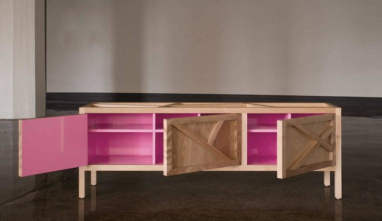 Inside-Out sideboard Cabinet Largo, Fine Lacquer Pink Credenza, cupboard walnut In New Condition For Sale In Brooklyn, NY