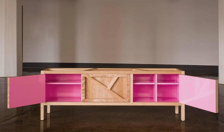 Lacquered Inside-Out sideboard Cabinet Largo, Fine Lacquer Pink Credenza, cupboard walnut For Sale