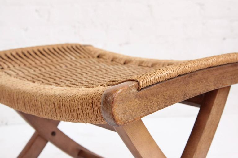 Woven Rope Mid-Century Modern Rocking Chair and Ottoman 4