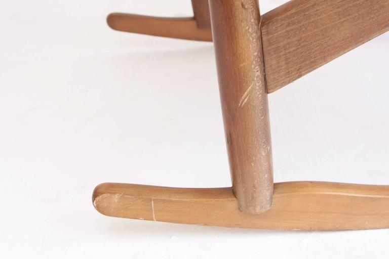 Woven Rope Mid-Century Modern Rocking Chair and Ottoman 5
