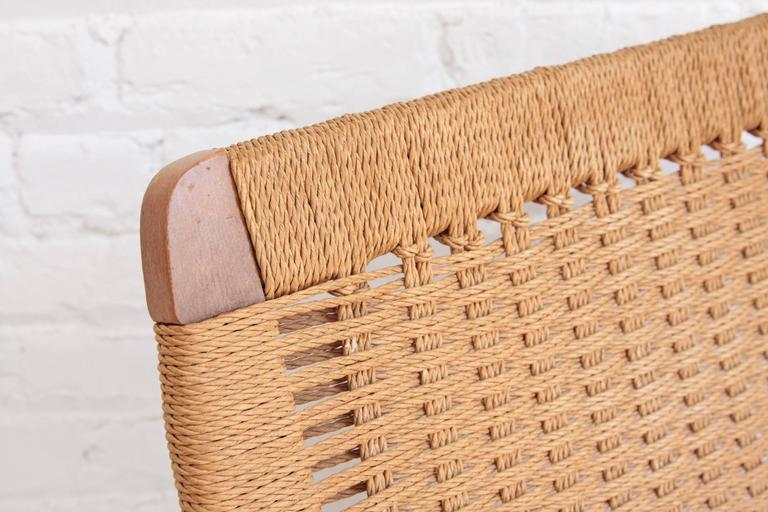 Woven Rope Mid-Century Modern Rocking Chair and Ottoman 2