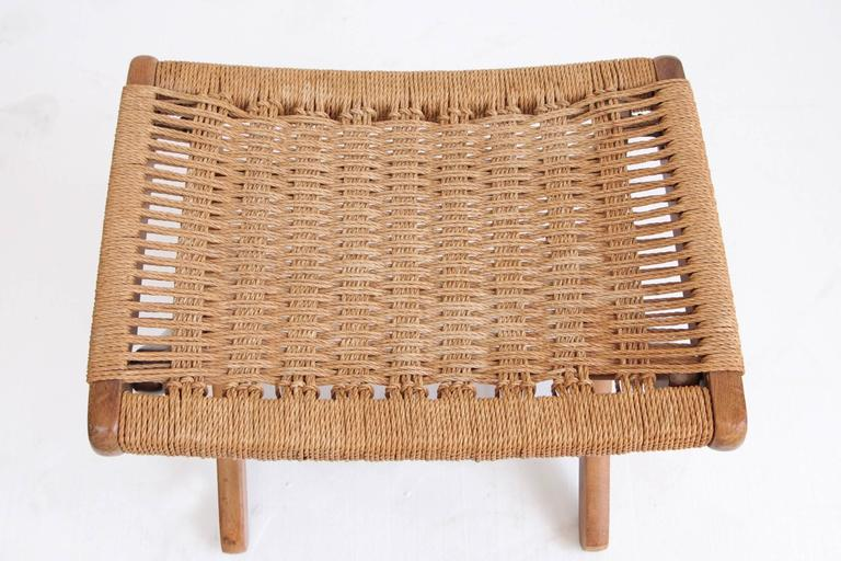 Woven Rope Mid-Century Modern Rocking Chair and Ottoman 3