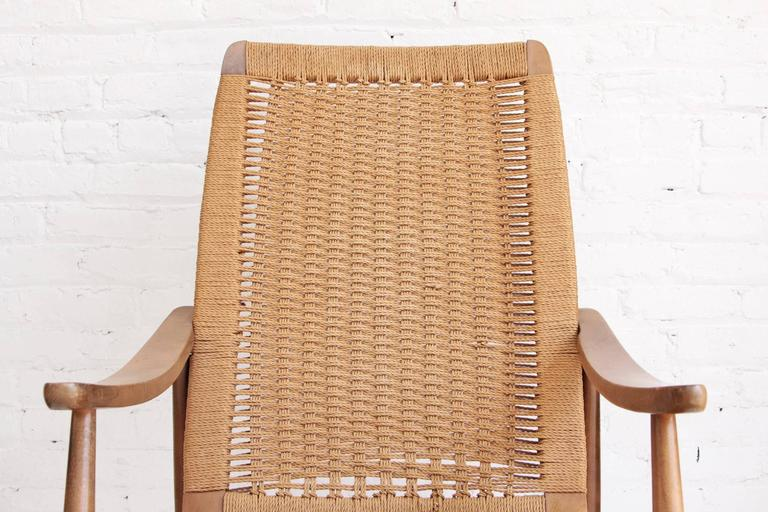 Woven Rope Mid-Century Modern Rocking Chair and Ottoman 1