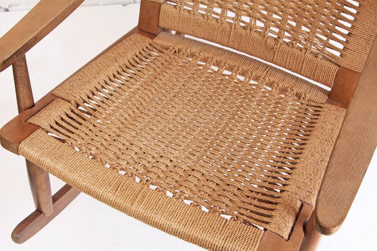 20th Century Woven Rope Mid-Century Modern Rocking Chair and Ottoman