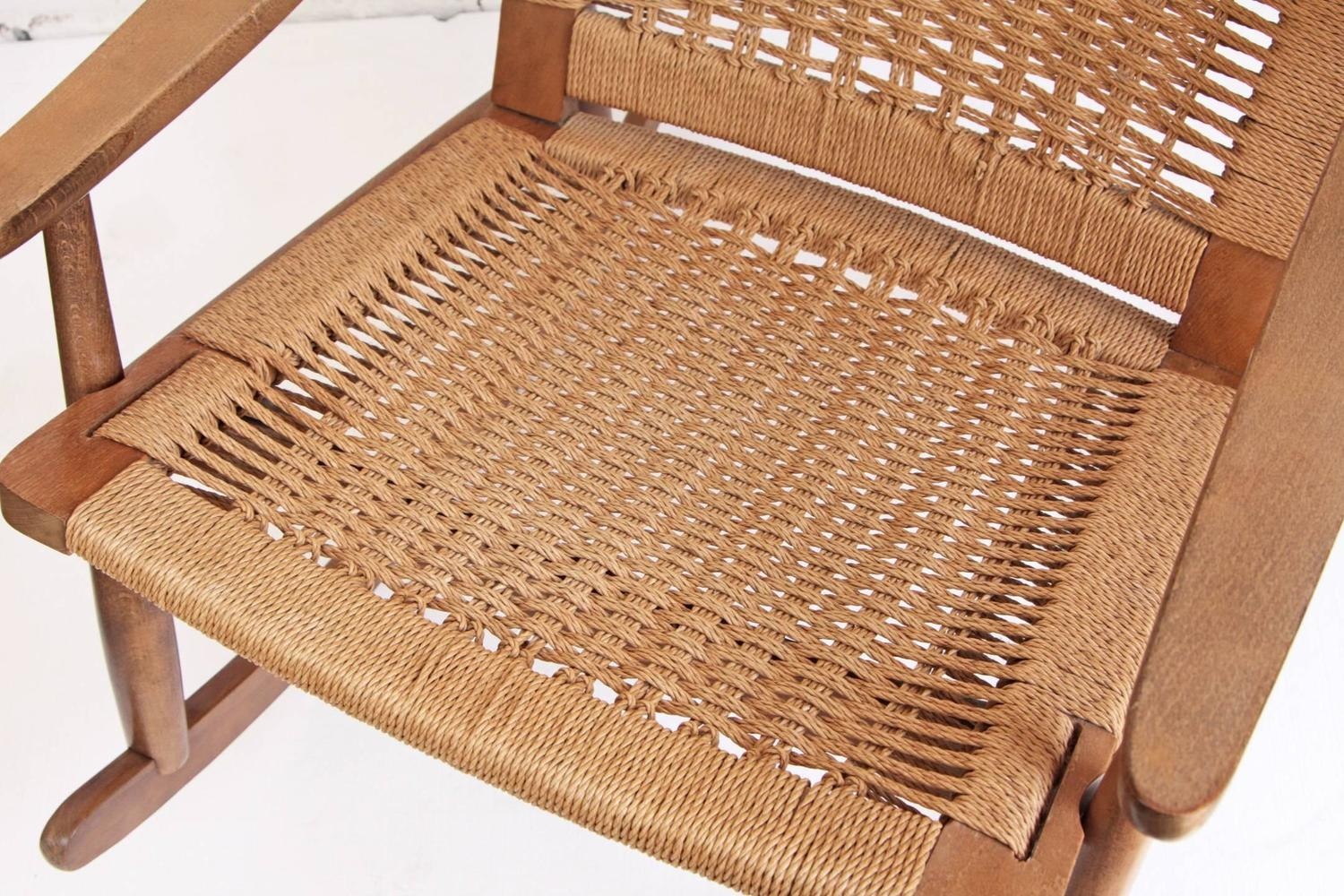 Woven Rope Mid Century Modern Rocking Chair And Ottoman At