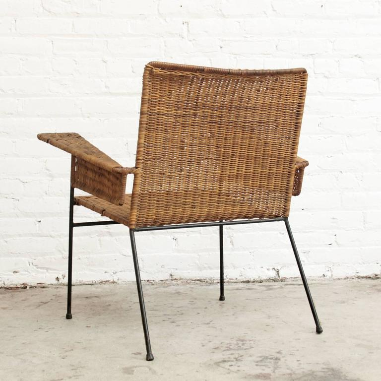 American Van Keppel-Green Wicker and Wrought Iron Chair For Sale