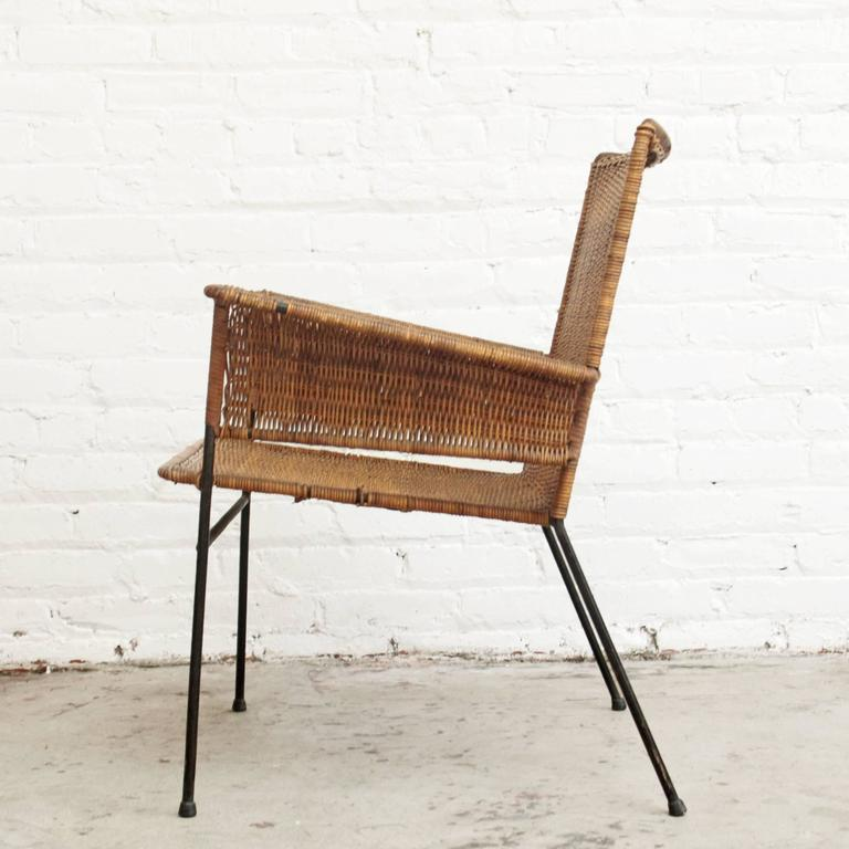Mid-Century Modern Van Keppel-Green Wicker and Wrought Iron Chair For Sale