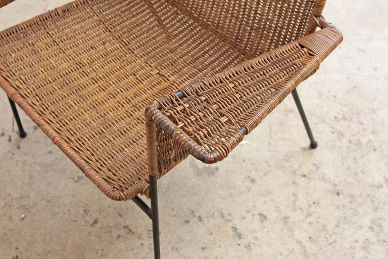 Van Keppel-Green Wicker and Wrought Iron Chair In Fair Condition For Sale In Brooklyn, NY