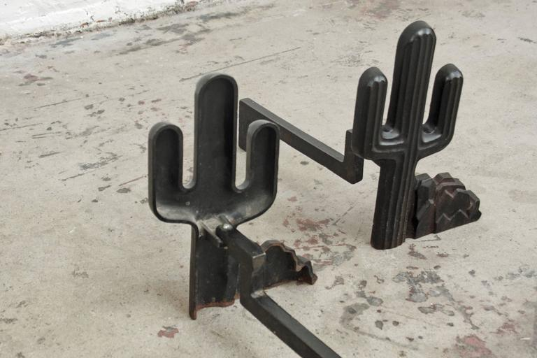 Mid-Century Modern Cacti Cast Iron Andirons For Sale