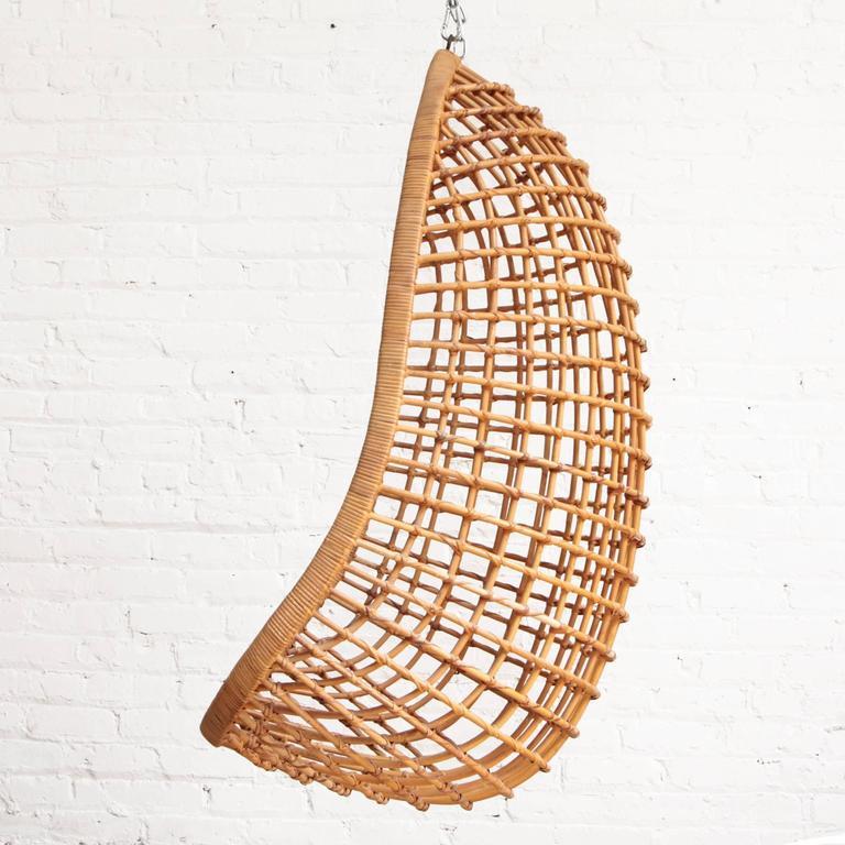 Bon Mid Century Modern Rohe Noordwolde Hanging Rattan Egg Chair For Sale
