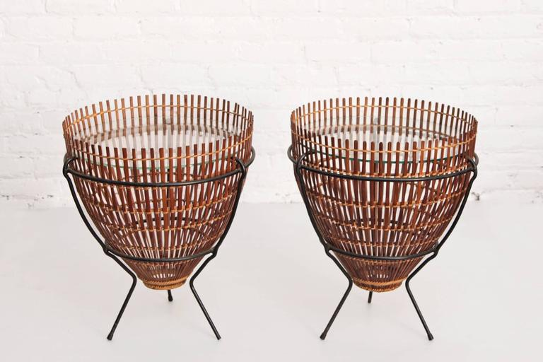 Pair Of Fish Trap End Tables Franco Albini Attributed 2