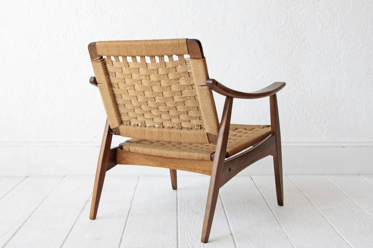 Mid Century Modern Hans Wegner Style Woven Rope Chair For